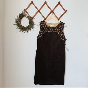 donna ricco NWT black dress lace neckline